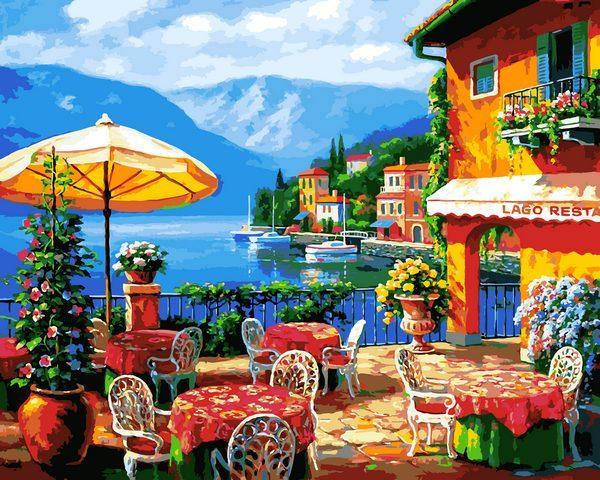 VP1295Картина-раскраска по номерам Кафе на озере