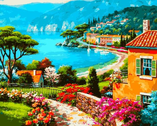 VP1297 Картина-раскраска по номерам Вид на берег