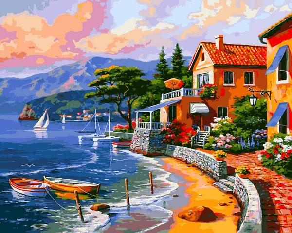 VP1298 Картина-раскраска по номерам Дом на берегу