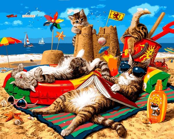 VP1317 Картина-раскраска по номерам Семья котов на море