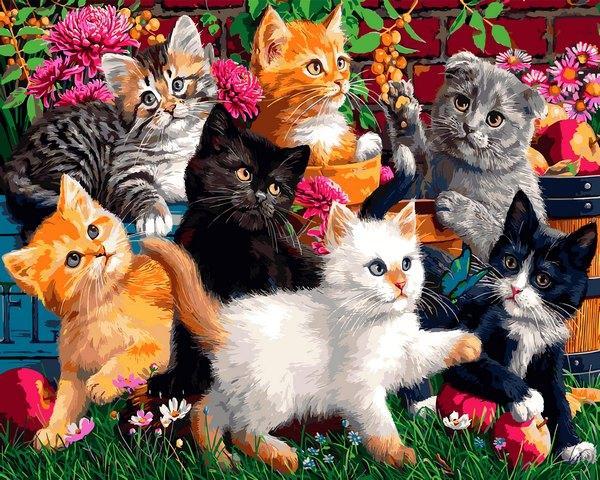 VP1319 Картина-раскраска по номерам Котята в саду