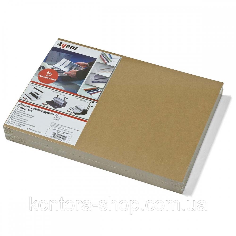 Обложки картонные А3 220 г/м2 крафт (100 штук)