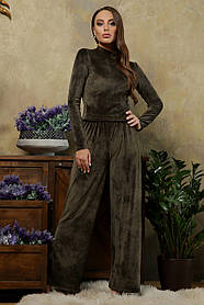 Женский домашний велюровый комплект из широких брюк и кофты Размеры S M L XL