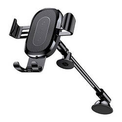 Тримач з затиском Baseus Car Holder Gravity Heukji Wireless Charger WXZT-01 Black