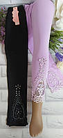 Лосины на девочку XL(8-9 лет) трикотажные Золото черный и сиреневый цвет Остатки, фото 1