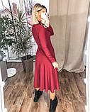 Платье женское миди трикотажное Цвета: мокко, чёрный, бордо, фото 7