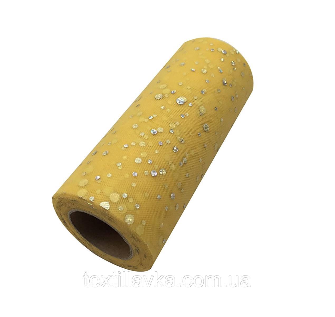 Фатин пайетка тусклый желтый 15см