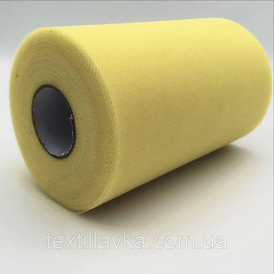 Фатин однотонный тусклый желтый15см