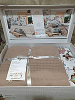Комплект покривала з постелю Nazenin Беж