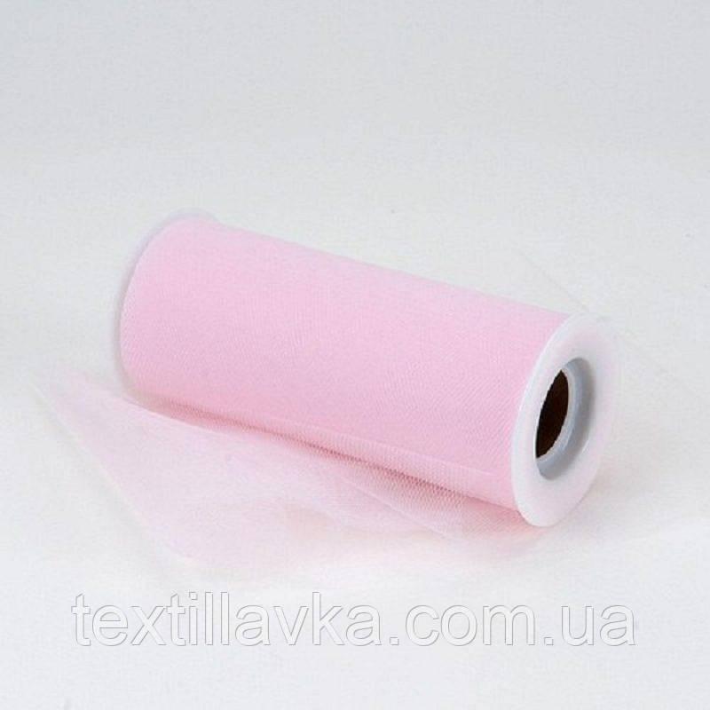 Фатин однотонный светло-розовый 15см