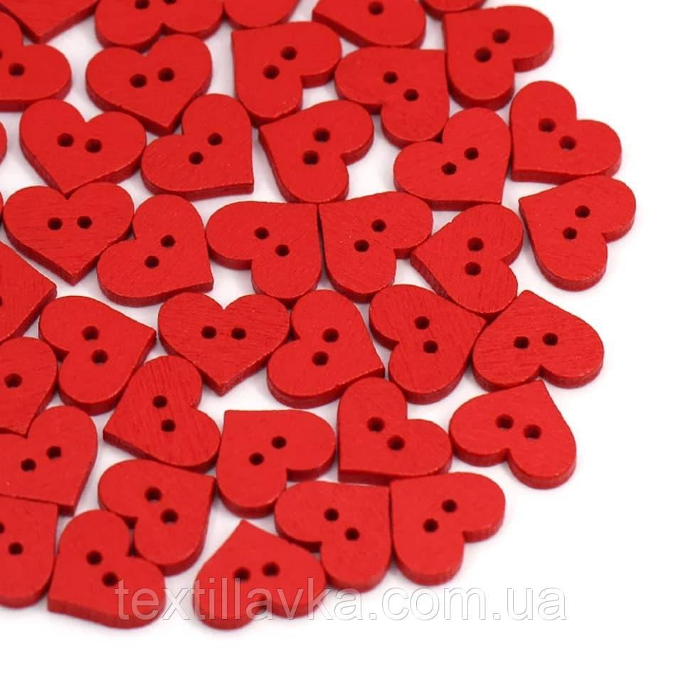 Пуговицы деревянные  красные сердечки