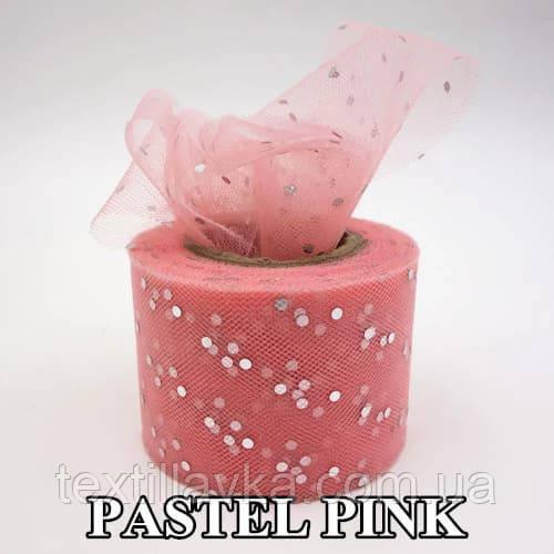 Фатин пайетка серебро пастельно-розовый 5см