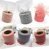 Фатин пайетка серебро пастельно-розовый 5см, фото 2
