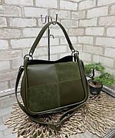 Женская небольшая сумка коссбоди сумочка через плечо стильная молодежная хаки натуральная замша+экокожа, фото 1
