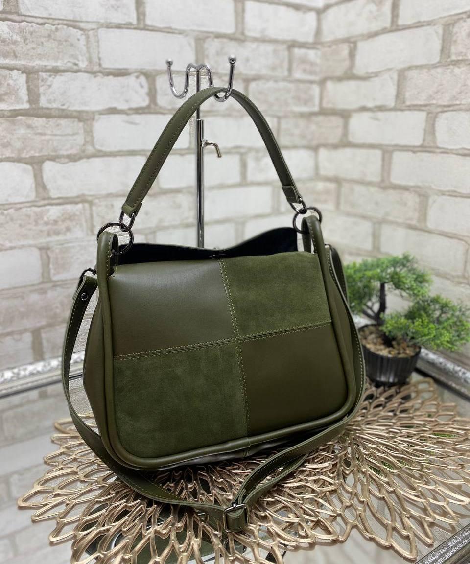 Женская небольшая сумка коссбоди сумочка через плечо стильная молодежная хаки натуральная замша+экокожа