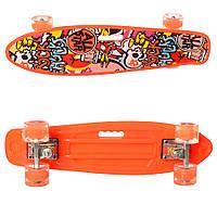 Детский яркий скейт пенни борд со светящимися колесами MS 0749-6 Penny board цвет оранжевый