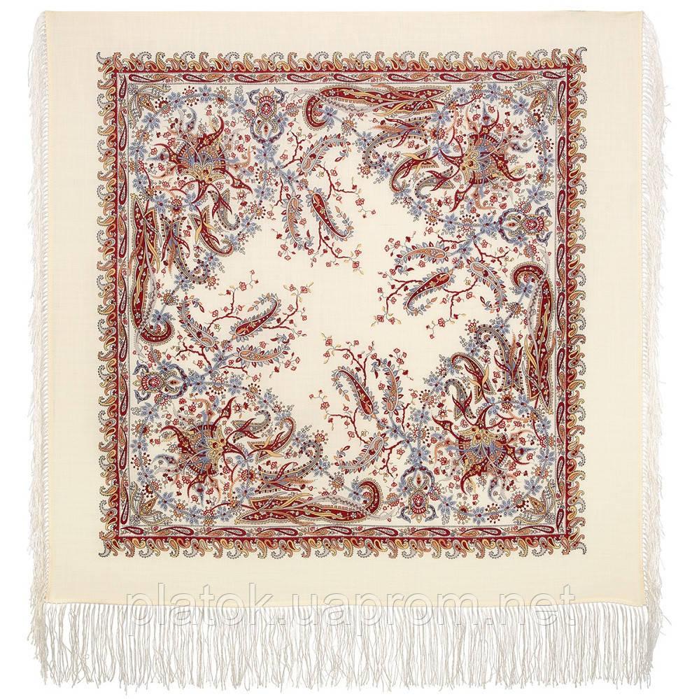Балаганчик 203-5, павлопосадский платок шерстяной  с шелковой бахромой