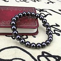 Браслет(d10) из гематита, чёрный, блестящий, для красоты и здоровья. Унисекс.