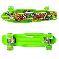 Детский яркий скейт пенни борд со светящимися колесами MS 0749-6 Penny board цвет салатовый