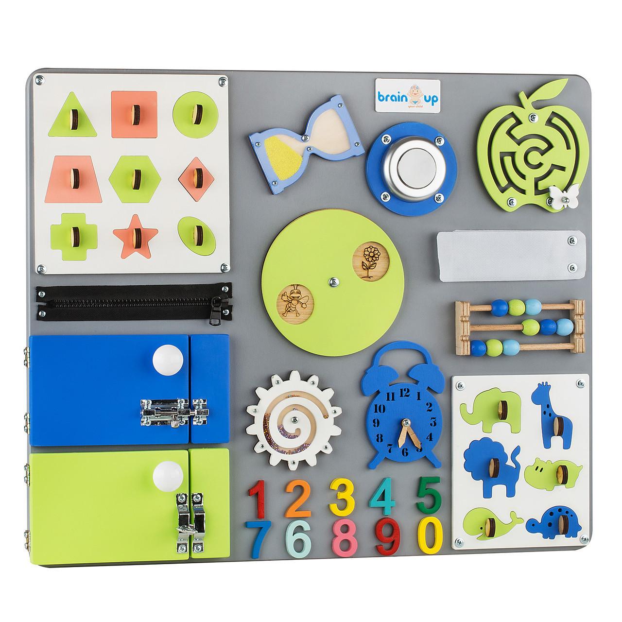 Бизиборд BrainUp Smart Busy Board настольная развивающая игра доска из 25 деталей M50x60 см (6004_2)