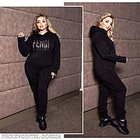 Спортивный костюм женский большого размера, чёрный , марсала