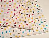 Ткань хлопок разноцветный горошек желтый,серый,голубой, фото 2