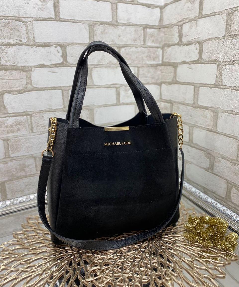 Женская сумка вместительная повседневная модная замшевая комбинированная черная натуральная замша+кожзам