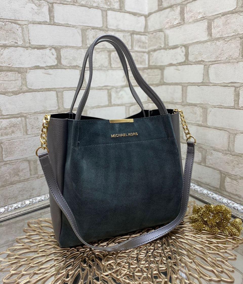 Женская сумка вместительная повседневная модная замшевая комбинированная серая натуральная замша+кожзам