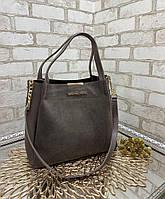 Женская сумка вместительная повседневная модная замшевая комбинированная коричневая натуральная замша+кожзам, фото 1