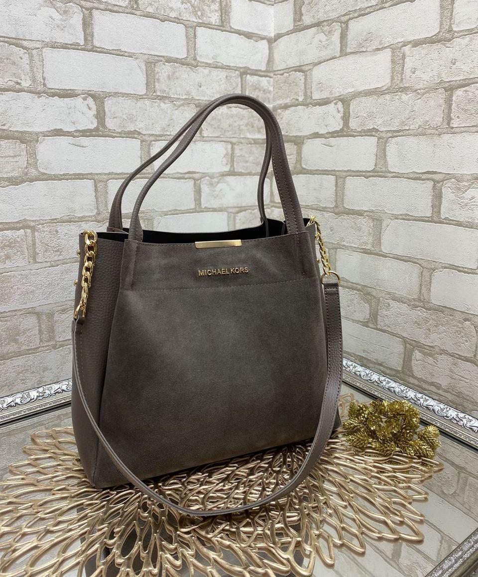 Женская сумка вместительная повседневная модная замшевая комбинированная коричневая натуральная замша+кожзам