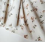 Ткань хлопок винтажные бежевые цветочки, фото 2