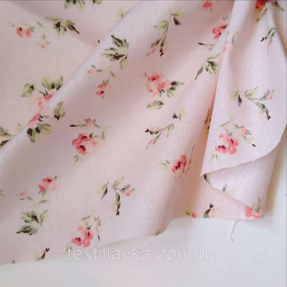 Ткань хлопок винтажные розовые цветочки