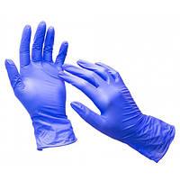 Нитриловые перчатки Nitrylex PF текстурированные на пальцах неопудренные размер S 50 шт Синие (MAS40107)