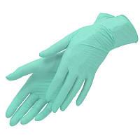 Нитриловые перчатки Nitrylex PF текстурированные на пальцах неопудренные р-р L 100 шт Зеленые (MAS40160)