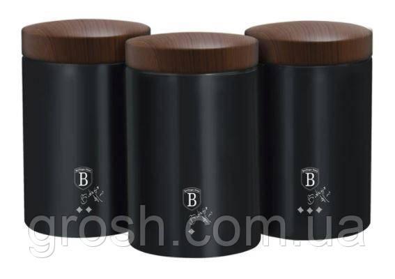 Набір ємностей металевих Berlinger Haus Ebony ROSEWOOD Collection BH 6454