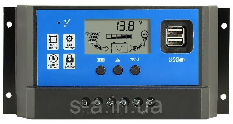 60А 12/24В Контролер заряду сонячних батарей (модулів) ШИМ (PWM) с Дисплеєм + 2USB