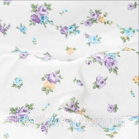 Ткань хлопок сиреневые цветочки