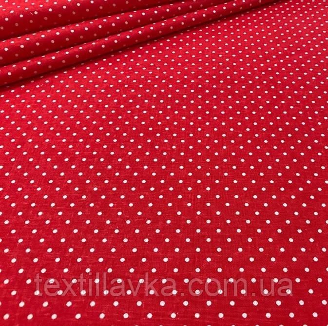 Ткань хлопок красный мелкий горошек