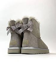 Женские сапоги зимние UGG Bailey Bow Mini Gray (серый)