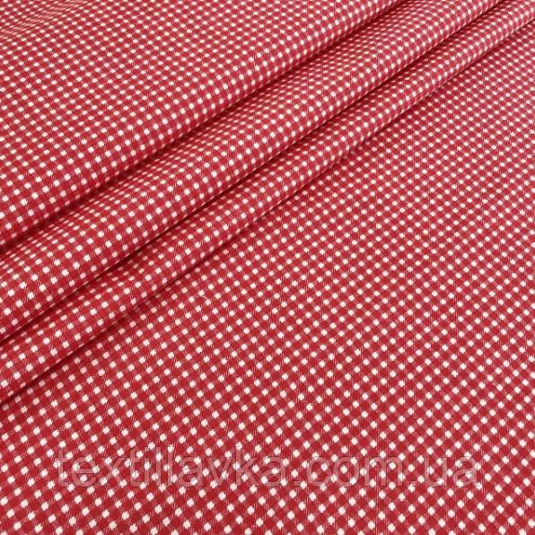 Ткань хлопок мелкая красная клеточка