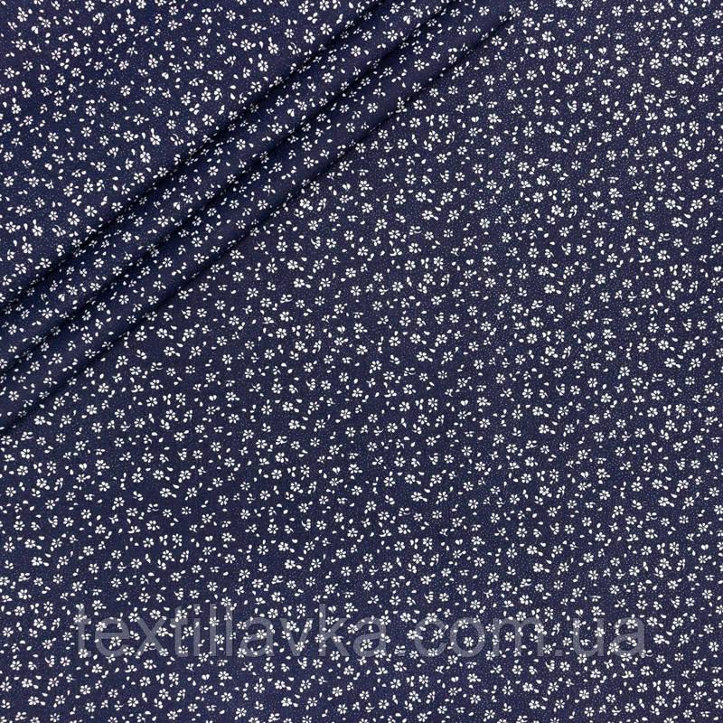 Ткань хлопок цветочки крохи на синем фоне