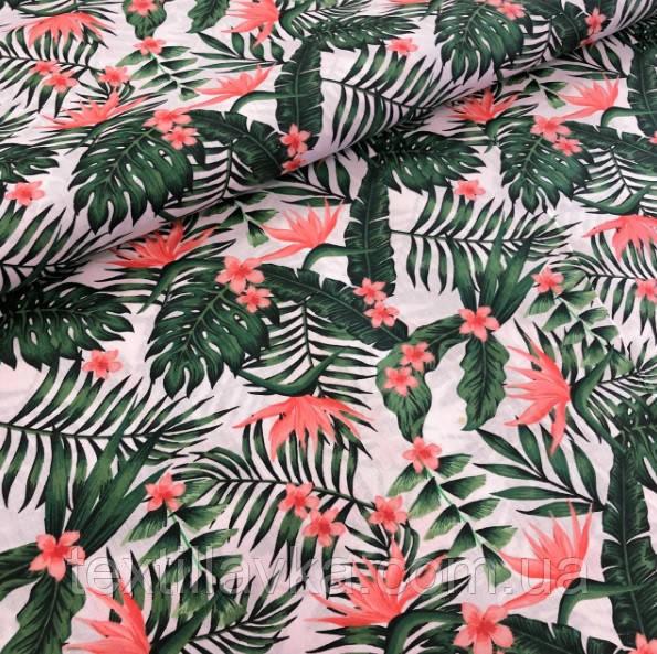 Ткань хлопок тропические листья