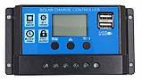 60А 12/24В 60А Контроллер заряда солнечных батарей (модулей) ШИМ (PWM) с Дисплеем + 2USB Контролер заряду, фото 2