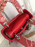 Cумка женская, клатч мини, красная матовая, кожа, фото 7