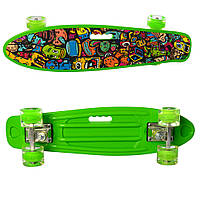 Детский яркий скейт пенни борд со светящимися колесами MS 0749-6 Penny board цвет зеленый