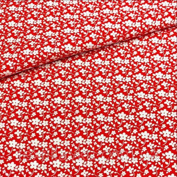 Ткань хлопок для рукоделия цветочки на красном