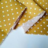 Ткань хлопок для рукоделия горошек горчица 4мм, фото 2