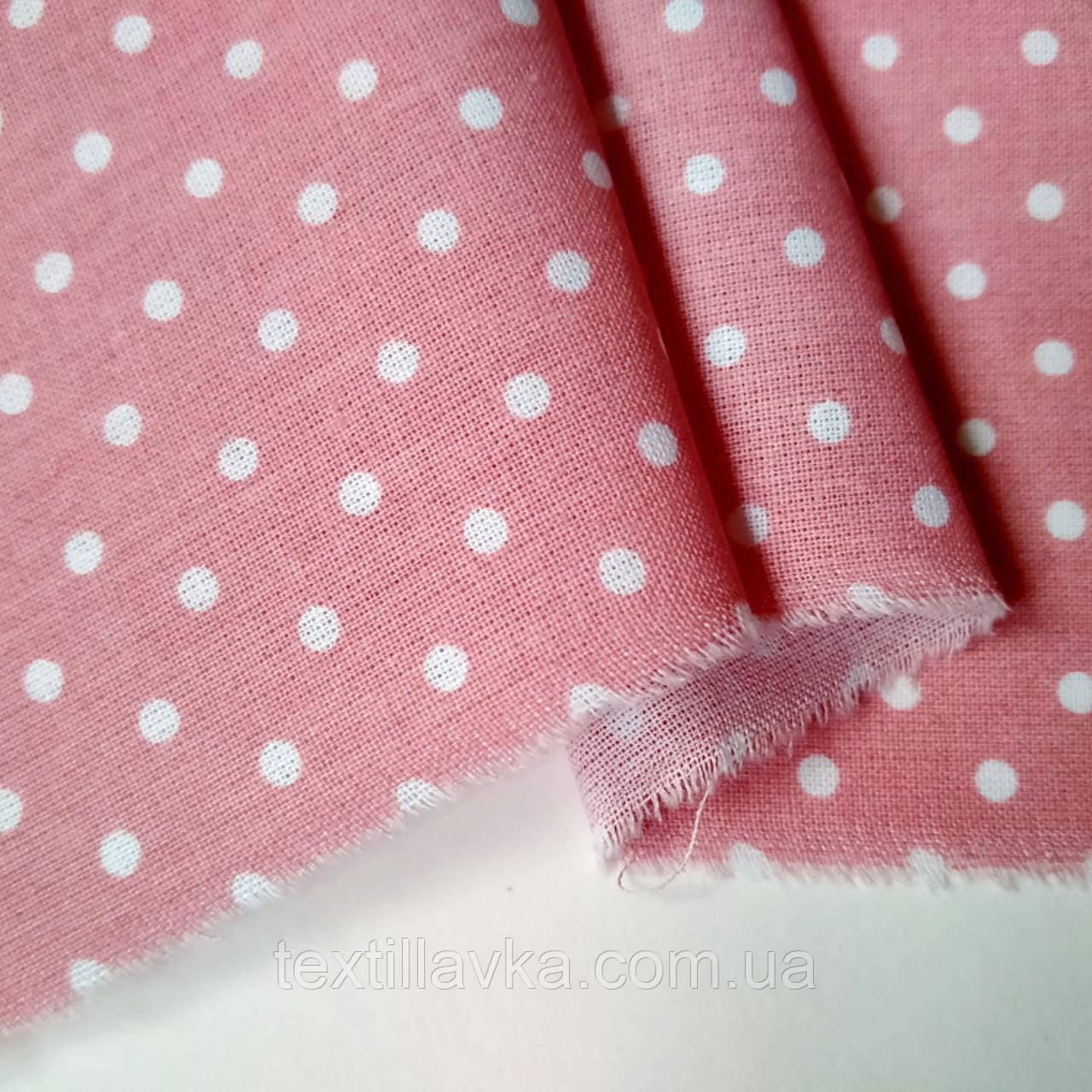 Ткань хлопок для рукоделия горошек 4мм на грязно-розовом