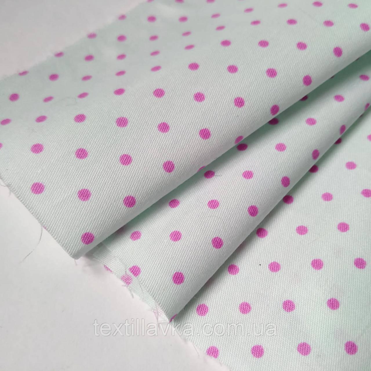 Ткань хлопок для рукоделия горошек розовый на мятном