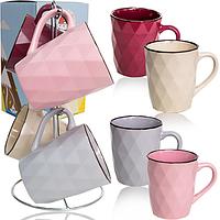 """Чашки цветные  """"Грани"""" на стойке набор 4 шт. (350 мл.)"""